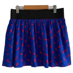 Material Girl Blue Skirt with Red Bird Print  US L